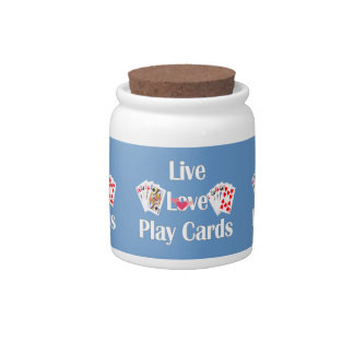 Live, Love, Play Cards Candy Jar