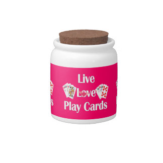 Live, Love, Play Cards Candy Jars