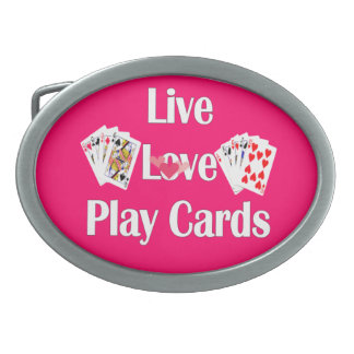 Live, Love, Play Cards-Pink Belt Buckle
