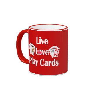Live Love Play Cards-Playing Cards/Personalize Ringer Coffee Mug