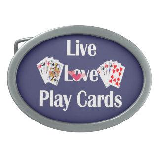 Live, Love, Play Cards-Purple Oval Belt Buckle