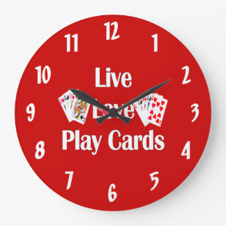Live, Love, Play Cards-Red Large Clock