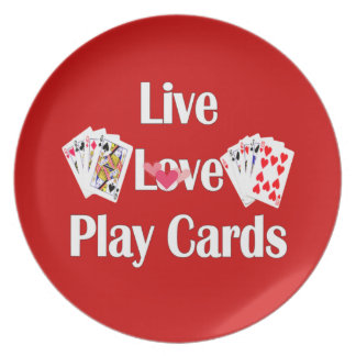 Live, Love, Play Cards-Red Plate