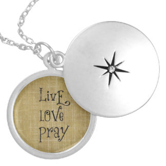 Live Love Pray Christian Quote Affirmation Round Locket Necklace