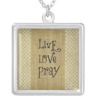 Live Love Pray Christian Quote Affirmation Square Pendant Necklace