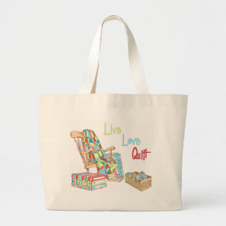 Live..Love..Quilt Large Tote Bag