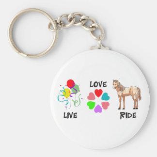 LIVE LOVE RIDE BASIC ROUND BUTTON KEYCHAIN