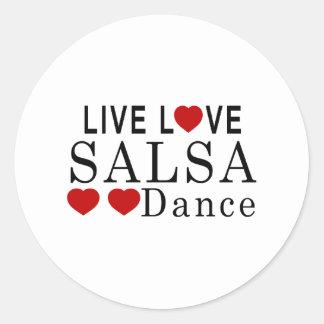 LIVE LOVE SALSA DANCE CLASSIC ROUND STICKER