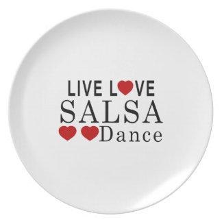 LIVE LOVE SALSA DANCE MELAMINE PLATE