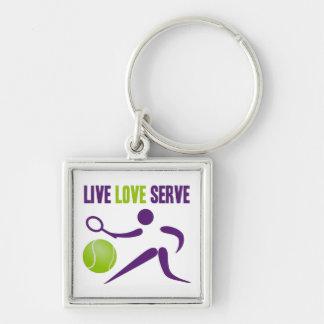 Live. Love. Serve. Silver-Colored Square Keychain