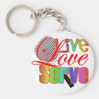 Live Love Serve Tennis Basic Round Button Keychain