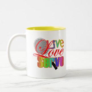 Live Love Serve Tennis Two-Tone Coffee Mug
