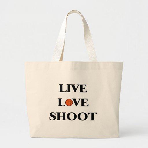 Live Love Shoot (Basketball) Canvas Bags