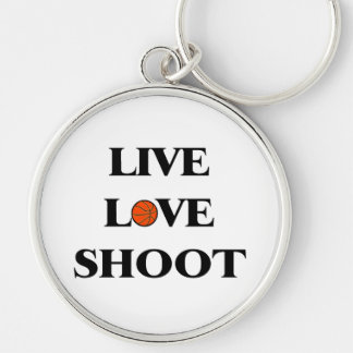 Live Love Shoot Basketball Silver-Colored Round Keychain