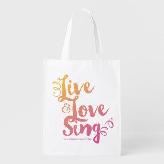 """Live & Love & Sing"" Pink&Orange Tote"
