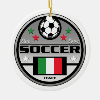 Live Love Soccer Italy Double-Sided Ceramic Round Christmas Ornament