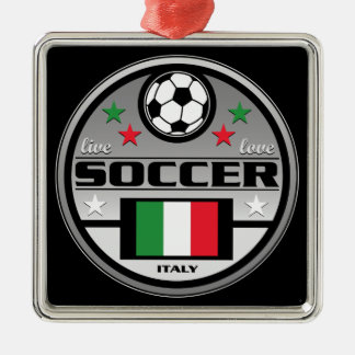 Live Love Soccer Italy Square Metal Christmas Ornament