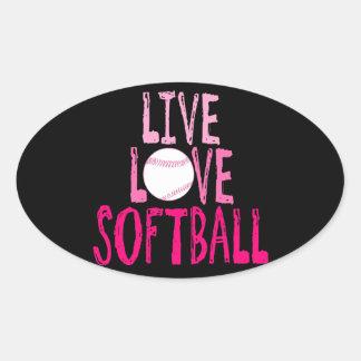 Live, Love, Softball Oval Sticker