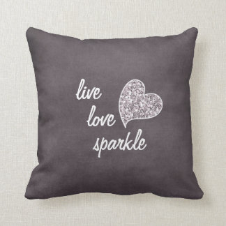 Live love Sparkle with Glitter heart Throw Pillows