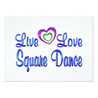 """Live Love Square Dance 5.5"""" X 7.5"""" Invitation Card"""
