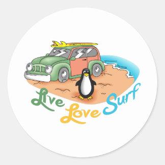 LIVE LOVE SURF CLASSIC ROUND STICKER