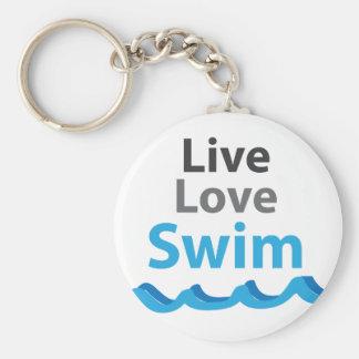 Live_Love_Swim Llavero Redondo Tipo Pin