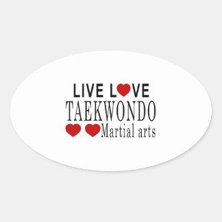 LIVE LOVE TAEKWONDO MARTIAL ARTS OVAL STICKER