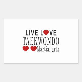 LIVE LOVE TAEKWONDO MARTIAL ARTS RECTANGULAR STICKER