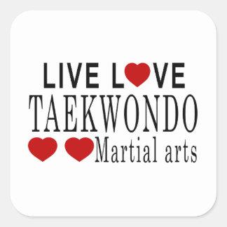 LIVE LOVE TAEKWONDO MARTIAL ARTS SQUARE STICKER