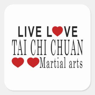 LIVE LOVE TAI CHI CHUAN MARTIAL ARTS SQUARE STICKER