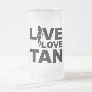 Live Love Tan Frosted Glass Beer Mug