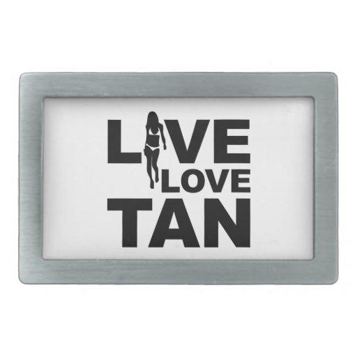 Live Love Tan Rectangular Belt Buckles