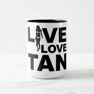 Live Love Tan Two-Tone Coffee Mug