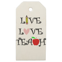 live love teach3 wooden gift tags