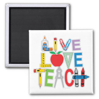 Live Love Teach 2 Inch Square Magnet
