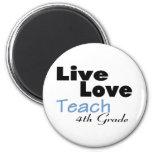 Live Love Teach 4th Grade (blue) Refrigerator Magnets