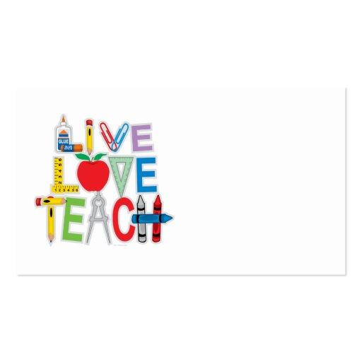 Live Love Teach Business Card Template