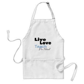 Live Love Teach Pre School blue Aprons