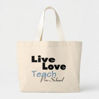 Live Love Teach Pre School (blue) Jumbo Tote Bag