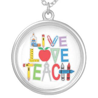 Live Love Teach Round Pendant Necklace