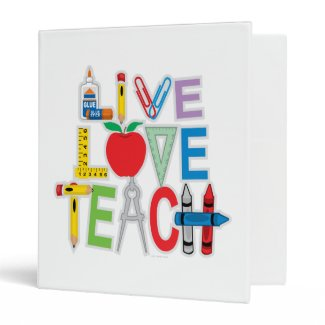 Live Love Teach Vinyl Binder