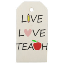 live love teach wooden gift tags
