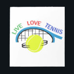 """LIVE LOVE TENNIS NOTEPAD<br><div class=""""desc"""">Show your love for the game of tennis.</div>"""