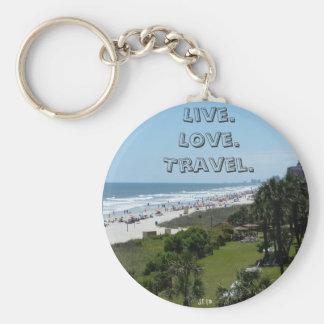 Live Love Travel Small Round Keychain