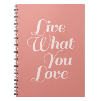 Live Love Typography Quotes Gift Salmon Notebook