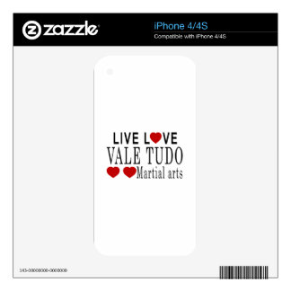 LIVE LOVE VALE TUDO MARTIAL ARTS SKINS FOR iPhone 4