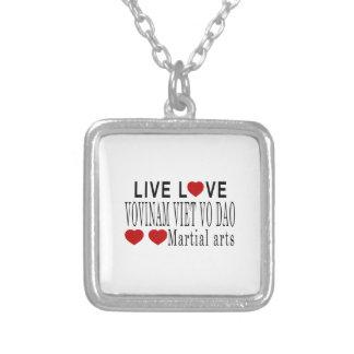 LIVE LOVE VOVINAM VIET VO DAO MARTIAL ARTS SILVER PLATED NECKLACE
