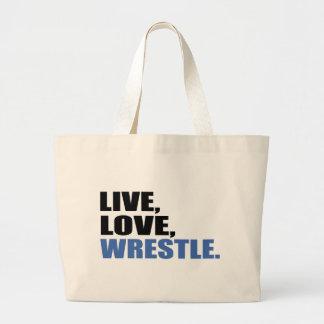 Live Love Wrestle Jumbo Tote Bag