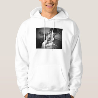 Live mole in hand smiling animal black white hoodie