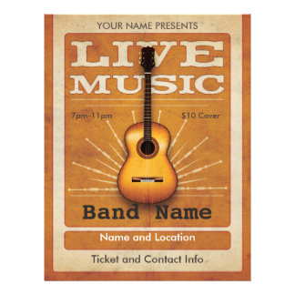 Live Music Acoustic Guitar Flyer